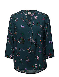 FLORAL PRINT BLOUSE W.PIPING - S.GREEN