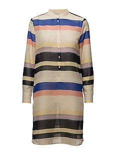 MULTI STRIPED TUNIC SHIRT - MARINA