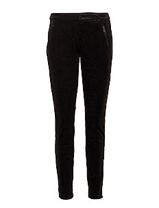 VELVET PANTS WITH GLITTER - BLACK