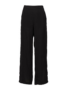 WIDE LEG PANTS W RIB DETAIL - BLACK