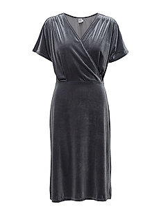 VELVET DRESS W. CROSS OVER - T.GREY