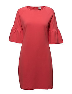 JERSEY DRESS W.FLOUNCE SLEEVE - P.PINK