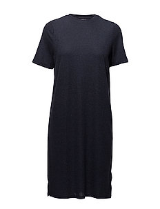 SHIMMER KNIT DRESS W. SLITS - M.INDIGO