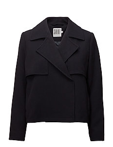 SHORT TRENCH JACKET - D.NAVY