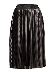 PLISSE METALLIC SKIRT - BLACK