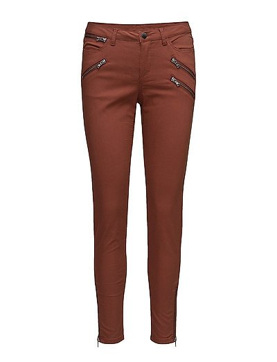 STRETCH PANTS WITH ZIPPERS - CHERRY M.