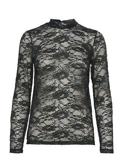 TOP WITH STRETCH LACE - FOREST