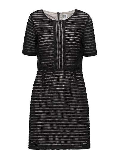 DRESS WITH HOLED OUTER LAYER - BLACK