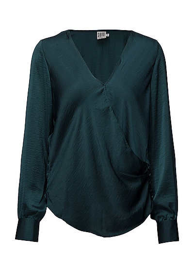 WRAP DETAIL BLOUSE WITH BUTTON - S.GREEN