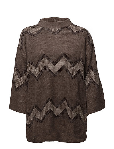 WIDE SLEEVE KNIT BLOUSE - BROWN M