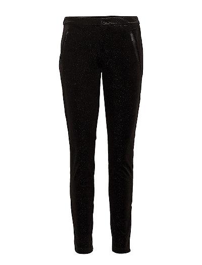 VELVET PANTS WITH GLITTER - BLACK