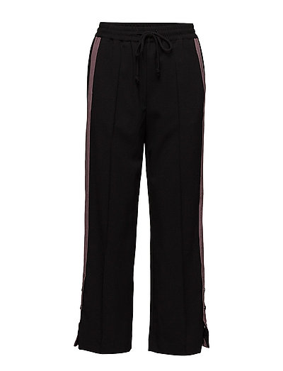 PANTS WITH STRIPE AND SLIT - BLACK