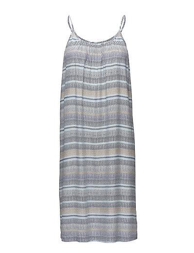 WAVED STRIPES P STRAP DRESS - P.BLUE