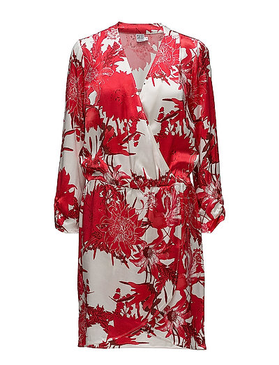 BIG FLOWER P WRAP DRESS - CAYENNE