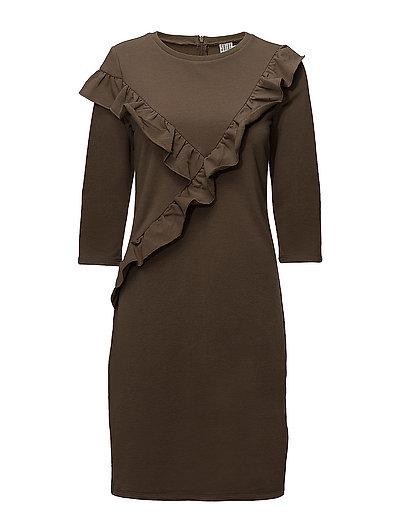 RUFFLE SWEAT DRESS - DK.OLIVE