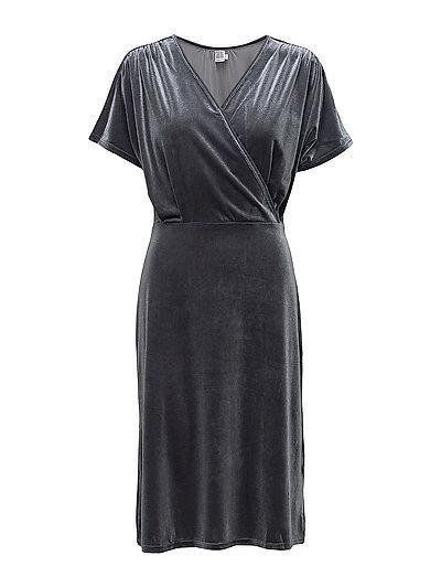 VELVET DRESS W. CROSS OVER - T.GREY