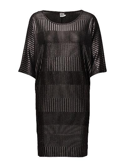FOIL PRINTED RIB DRESS - BLACK
