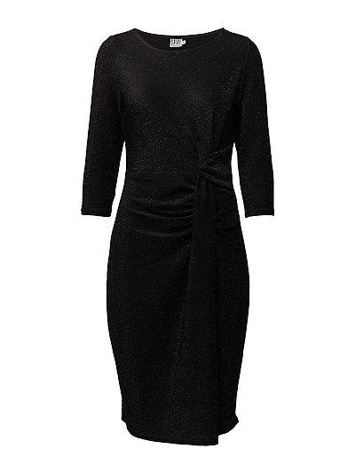 DRAPED SHIMMER DRESS - BLACK