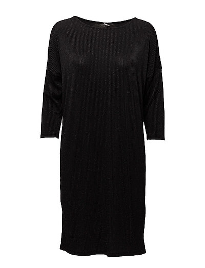STRIPED SHIMMER DRESS - BLACK