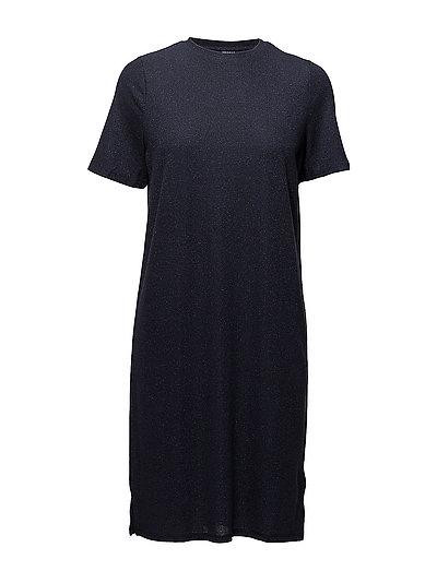 SHIMMER KNIT DRESS W. SLITS - M.INDIGO