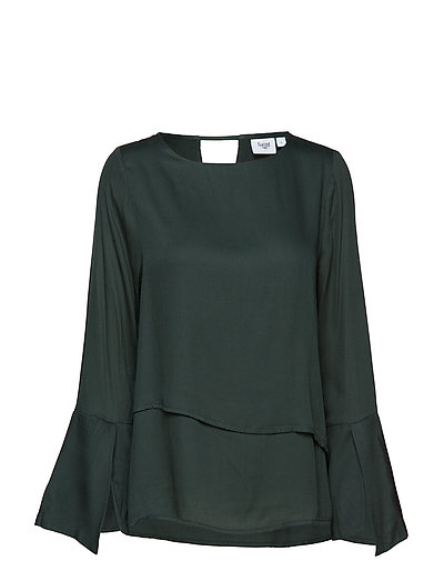 BLOUSE W. LAYERS - FOREST