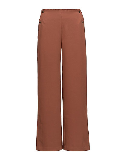 WIDE LEG BUTTONED PANTS - C.BROWN