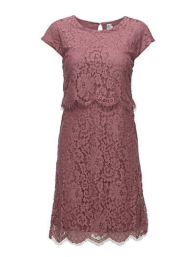 LACE DRESS W.LAYERS - BERRY