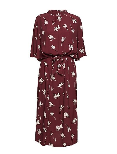 FLOWER PRINT LONG DRESS - TRUFFLE