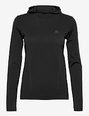 Salomon - ESSENTIAL SEAMLESS  HOODI Black/Ebony - hoodies - black/ebony - 0
