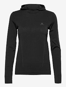 ESSENTIAL SEAMLESS  HOODI Black/Ebony - hoodies - black/ebony