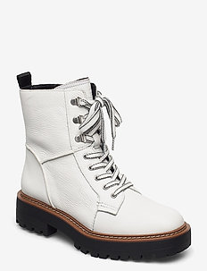 LAURE BORMIO TUMBLED LEATHER - flat ankle boots - bright white