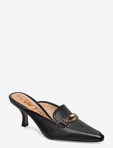 TENETTA EMBOSSED LIZARD LEATHER - mules - black