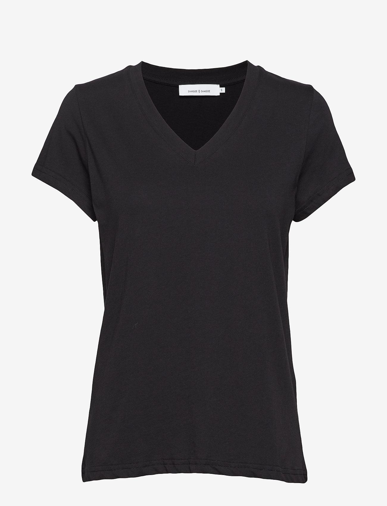 Samsøe Samsøe - Solly v-n t-shirt 205 - basic t-shirts - black