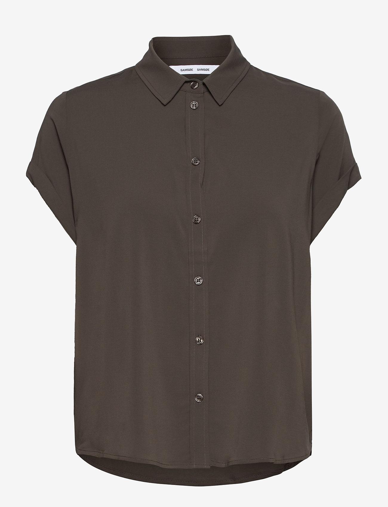 Samsøe Samsøe - Majan ss shirt 9942 - kortærmede skjorter - black olive - 0