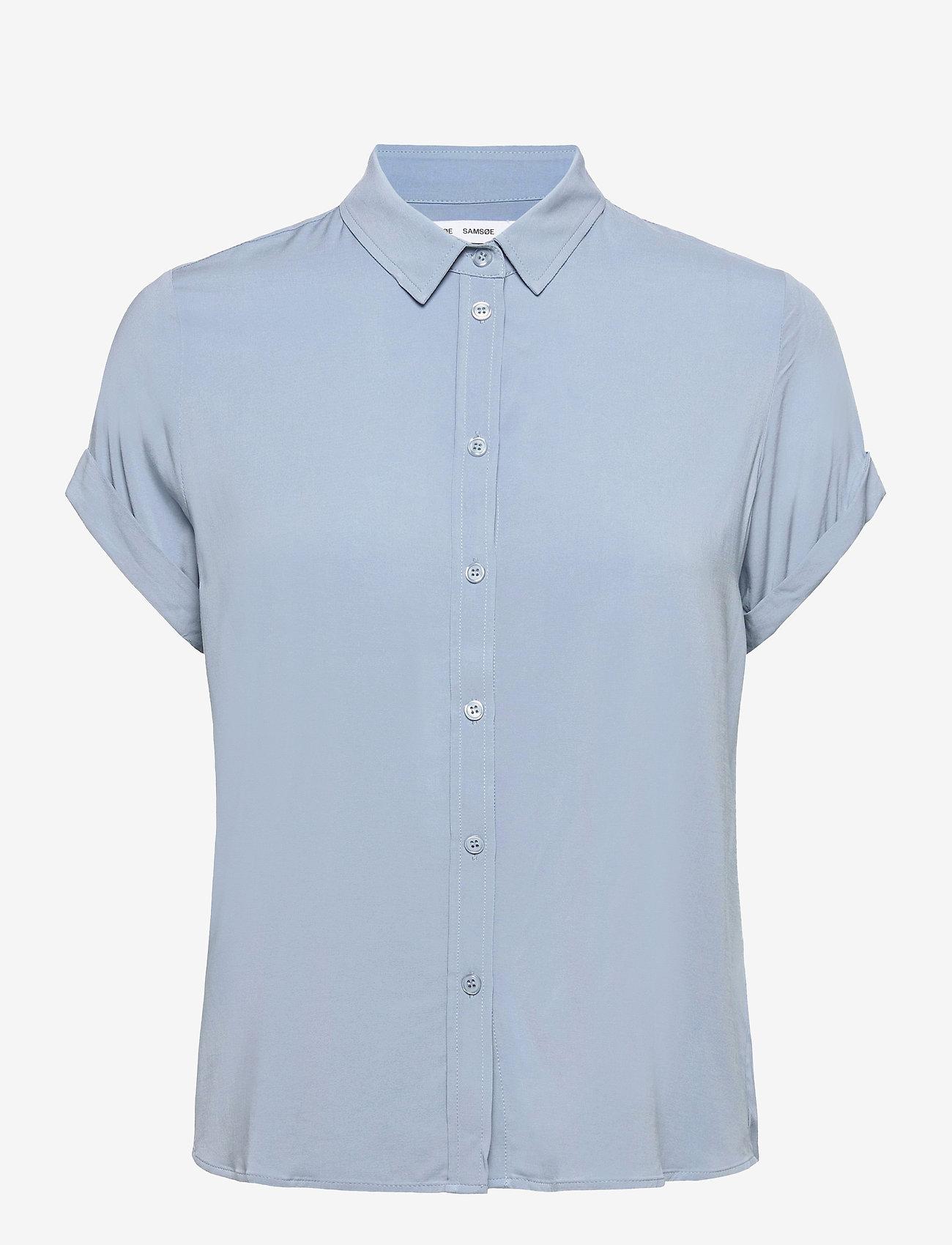 Samsøe Samsøe - Majan ss shirt 9942 - kortärmade skjortor - dusty blue - 0