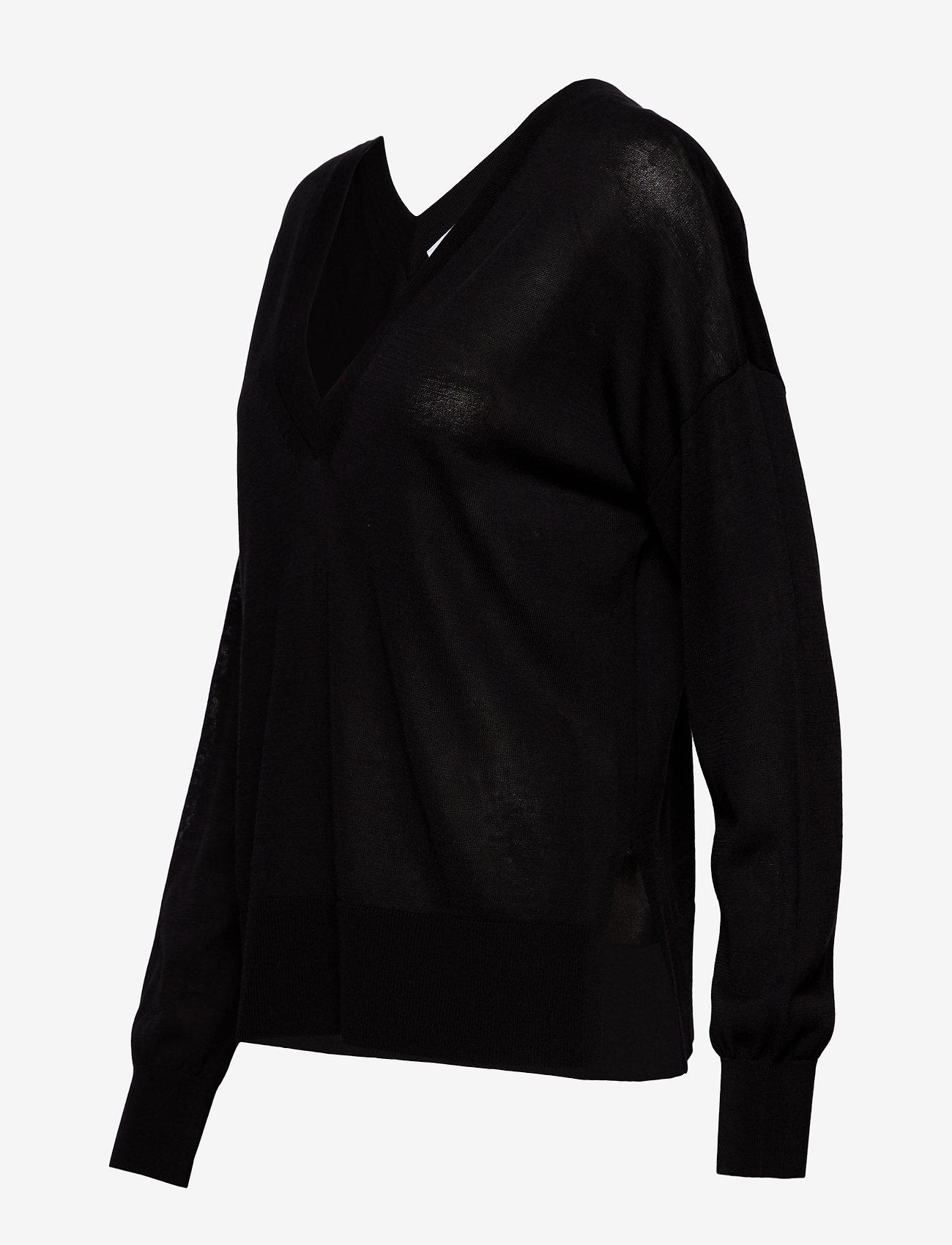 Samsøe Samsøe Dida v-neck 5812 - Dzianina BLACK - Kobiety Odzież.