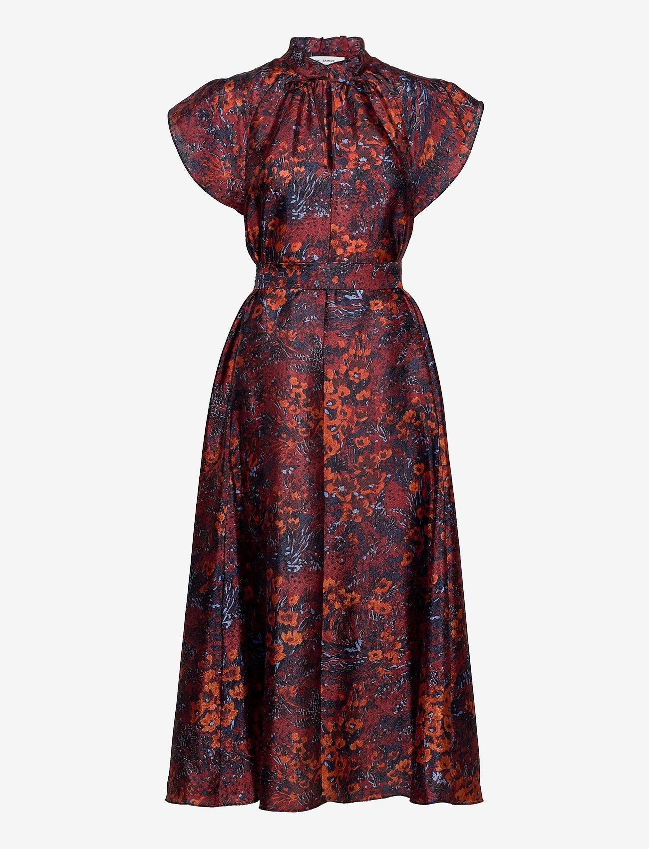 Samsøe Samsøe - Karookh long dress aop 11244 - kveldskjoler - fired crepitus - 0