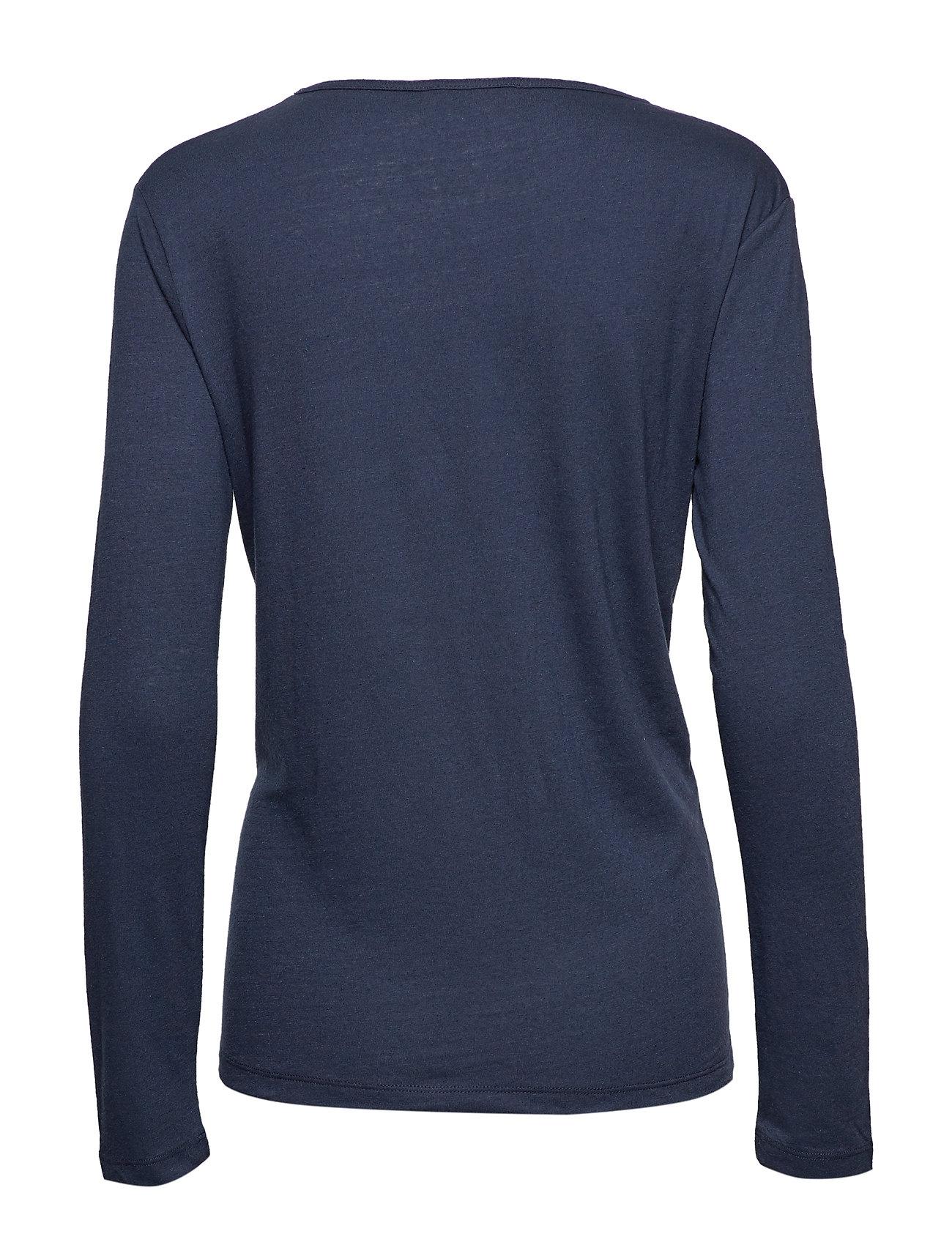 Nobel Ls 3170 Langærmet T shirt Blå SAMSØE & SAMSØE