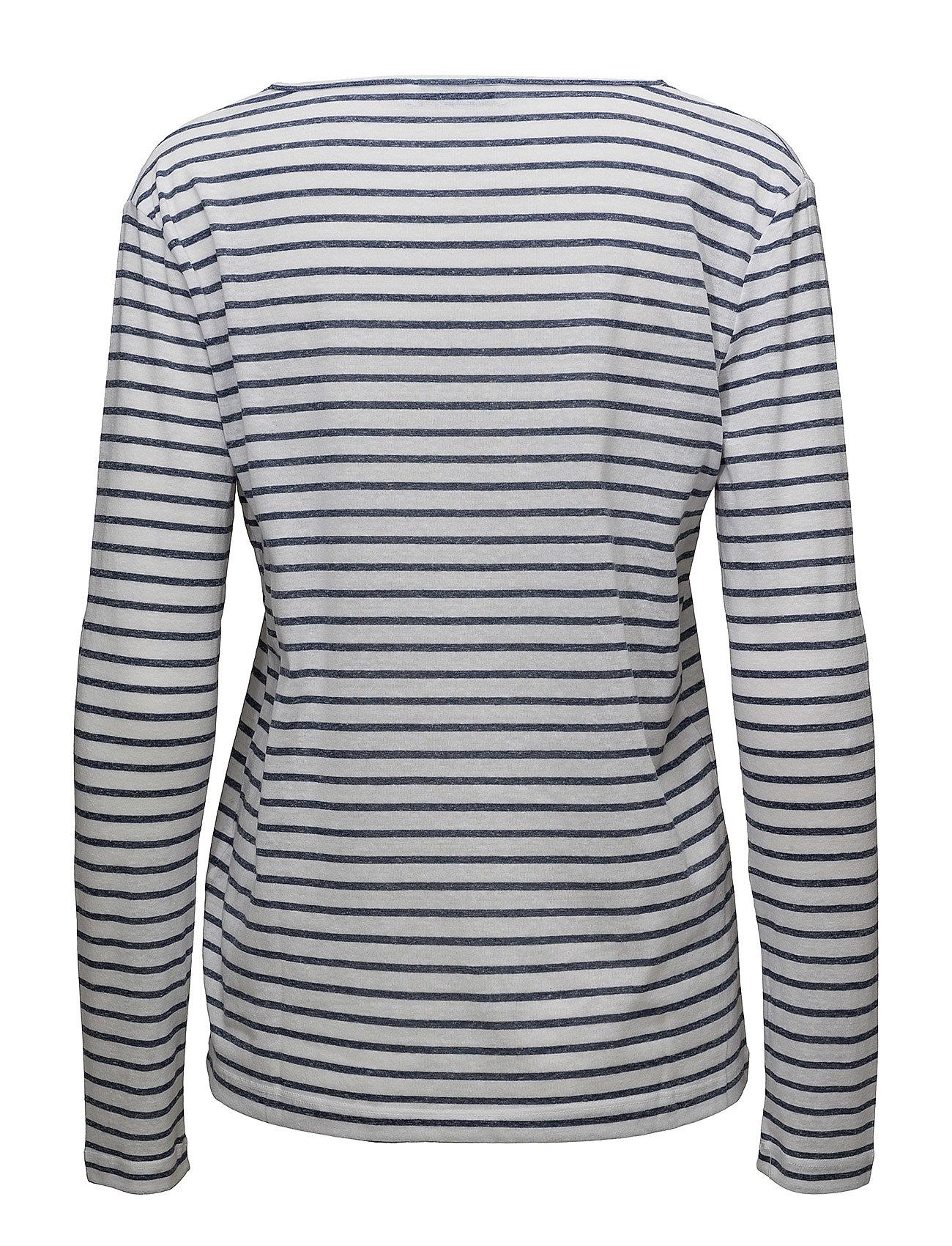 Nobel Ls Stripe 3173 Langærmet T shirt Blå SAMSØE & SAMSØE
