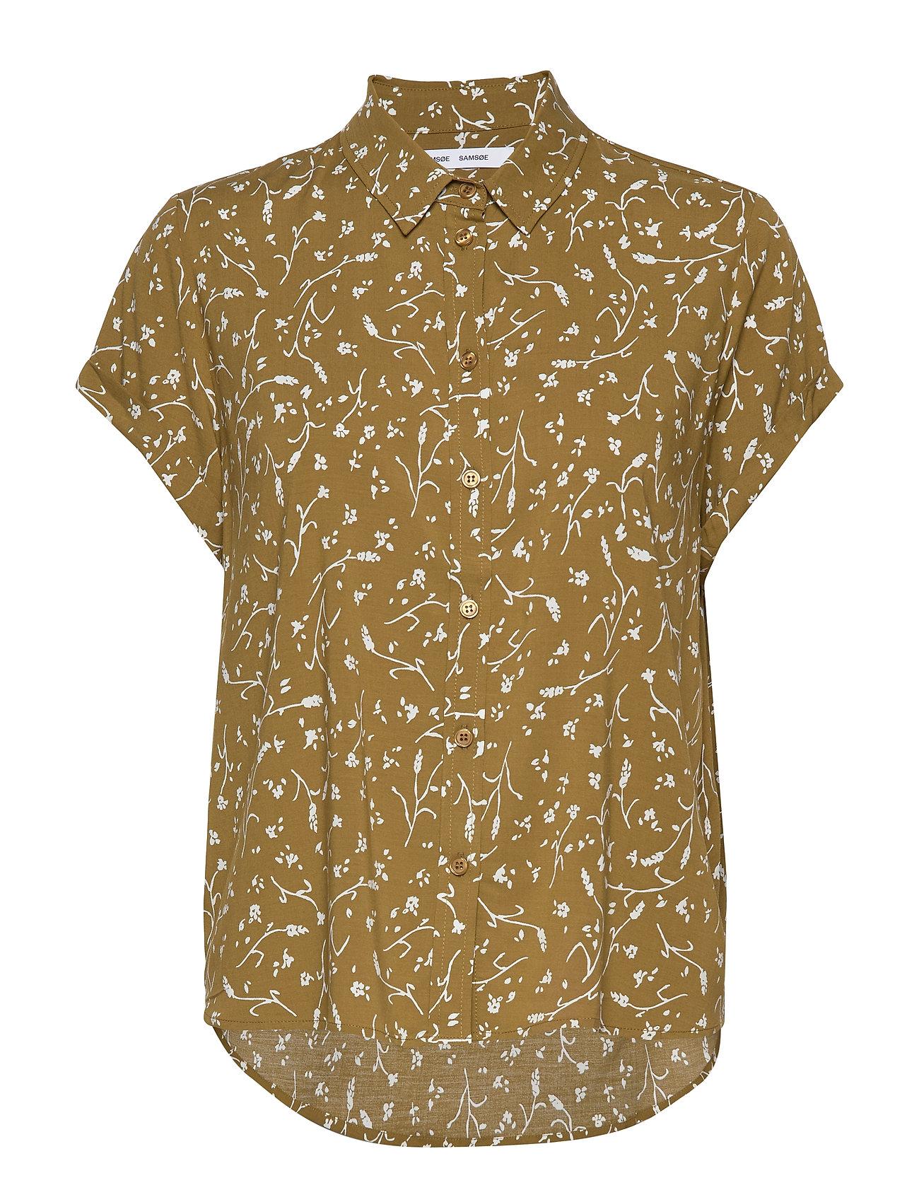 Samsøe Samsøe Majan ss shirt aop 9942 - FEUILLES KHAKI