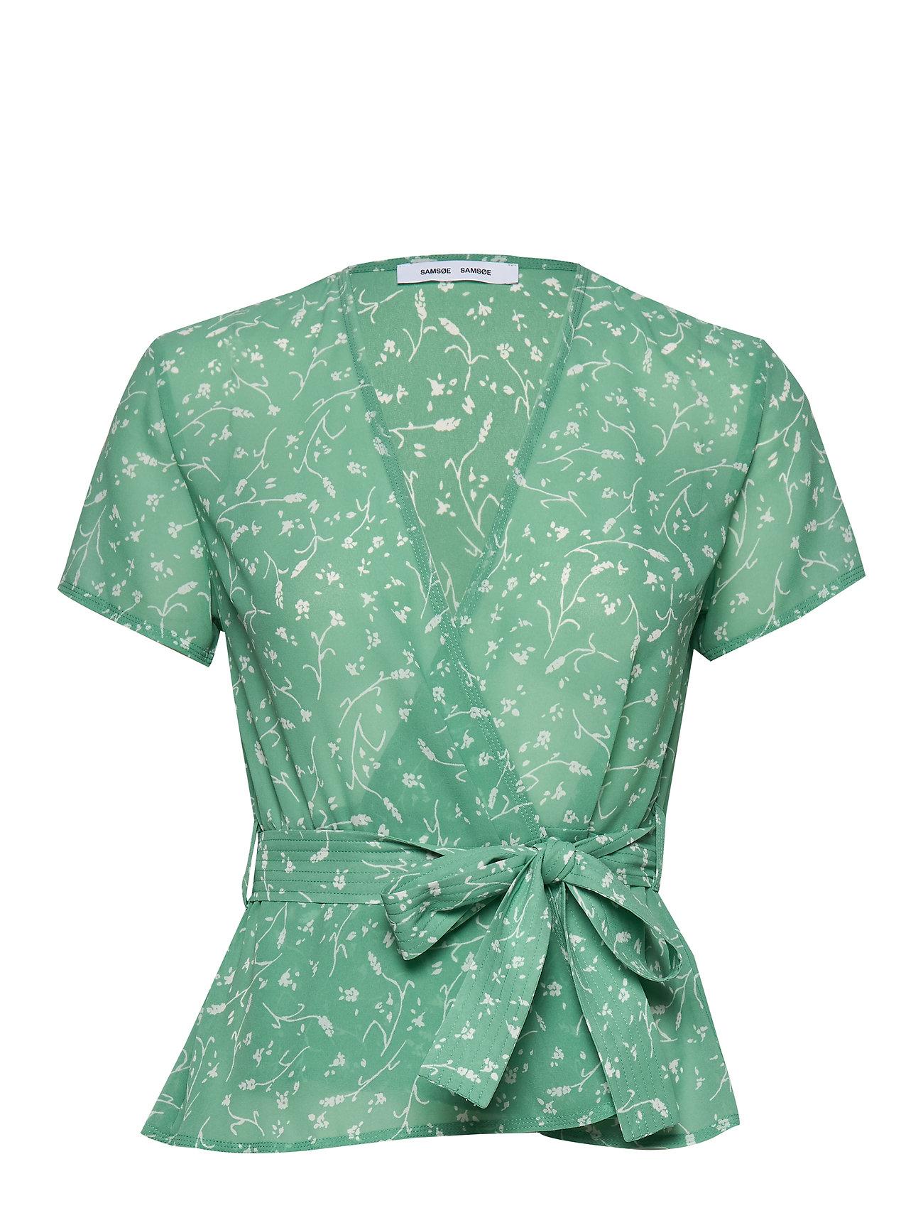 Samsøe Samsøe Klea ss blouse aop 6621 - FEUILLES MENTHE