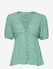 Samsøe Samsøe - Petunia ss blouse aop 10056 - blouses met korte mouwen - feuilles menthe - 0