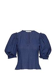 Petulie blouse 12732 - BLUE DEPTHS CHECK