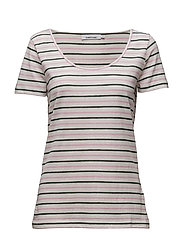 Nobel tee stripe 3173 - CREAM LILAC ST