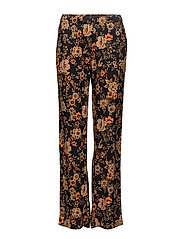 Hoys straight pants aop 7700 - BLACK BLOOM
