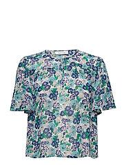 Imola blouse ss aop 10842 - GIARDINO AZZURRO