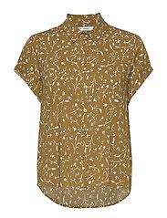 Majan ss shirt aop 9942 - FEUILLES KHAKI
