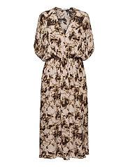 Andina long dress aop 8083 - CAMO CLAY