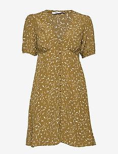 Petunia short dress aop 10056 - korte kjoler - feuilles khaki