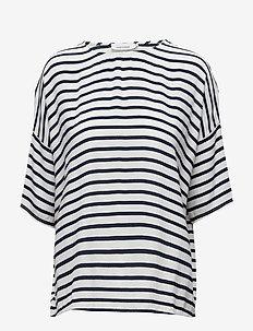 Mains tee stripe 5687 - stripede t-skjorter - bluecream small